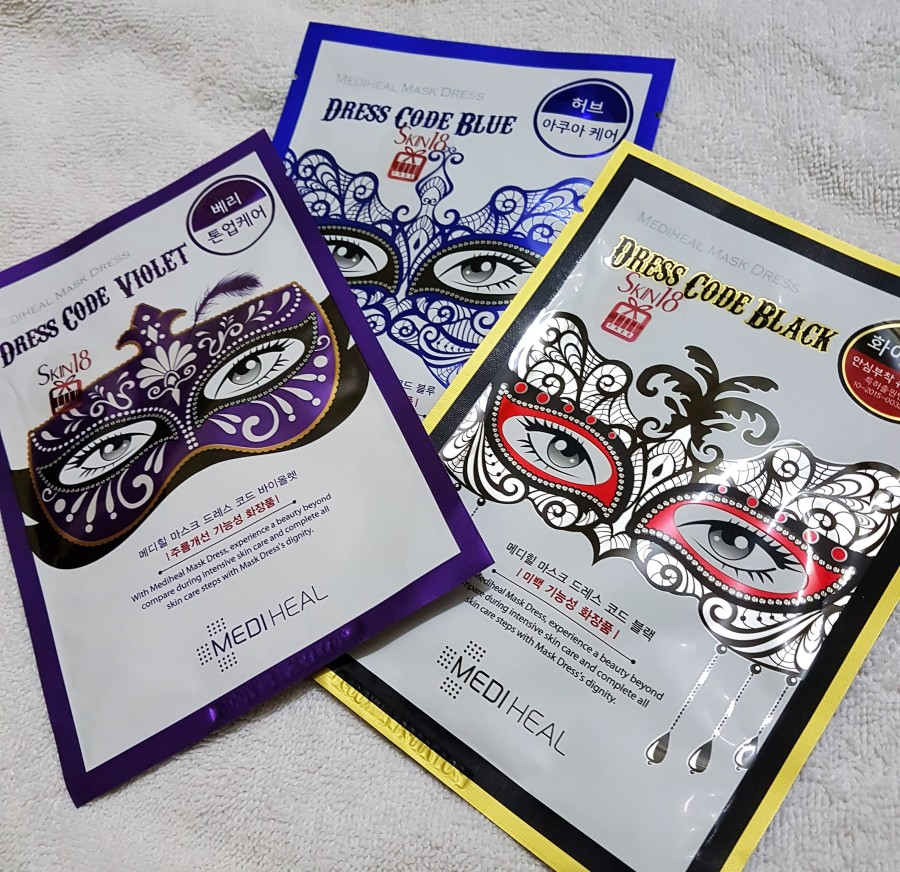 Product Review: Skin18 Mediheal Dress Code Masks in Violet, Blue and Black