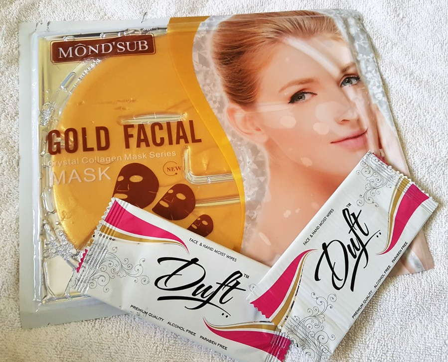 Product Review: TestnReview – Mond'Sub Gold Facial Crystal Collage Mask / Duft Face & Hand Moist Wipes