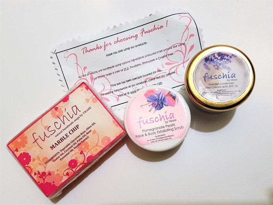 Product Review: Fuschia Pomegranate Pearls Face & Body Exfoliating Scrub, 	Fuschia Garden Lavender Day Cream with SPF 15 & Fuschia Marble Chip Natural Handmade Soap