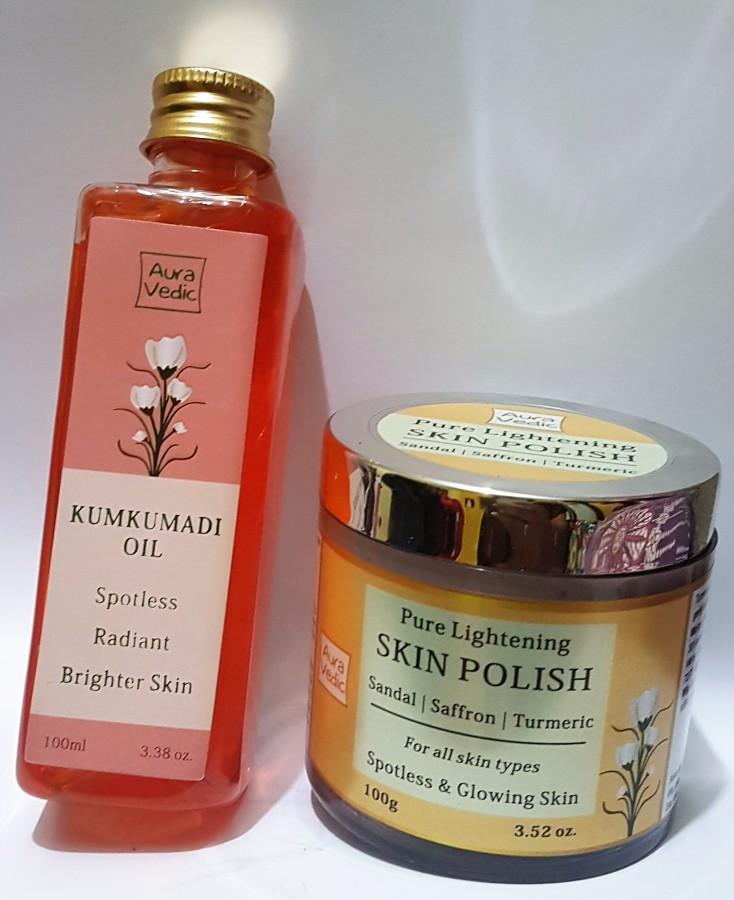 Product Review: Auravedic Kumkumadi Oil & Pure Lightening Skin Polish